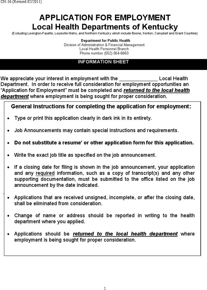 Local Health Departments of Kentucky Application for Employment