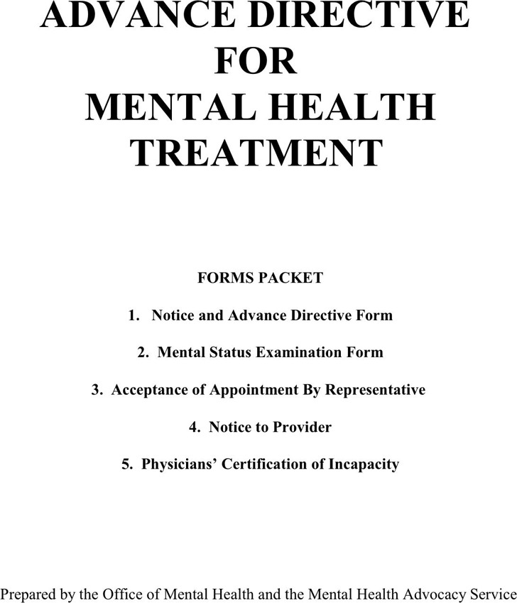 Louisiana Advance Directive Form For Mental Health Treatment