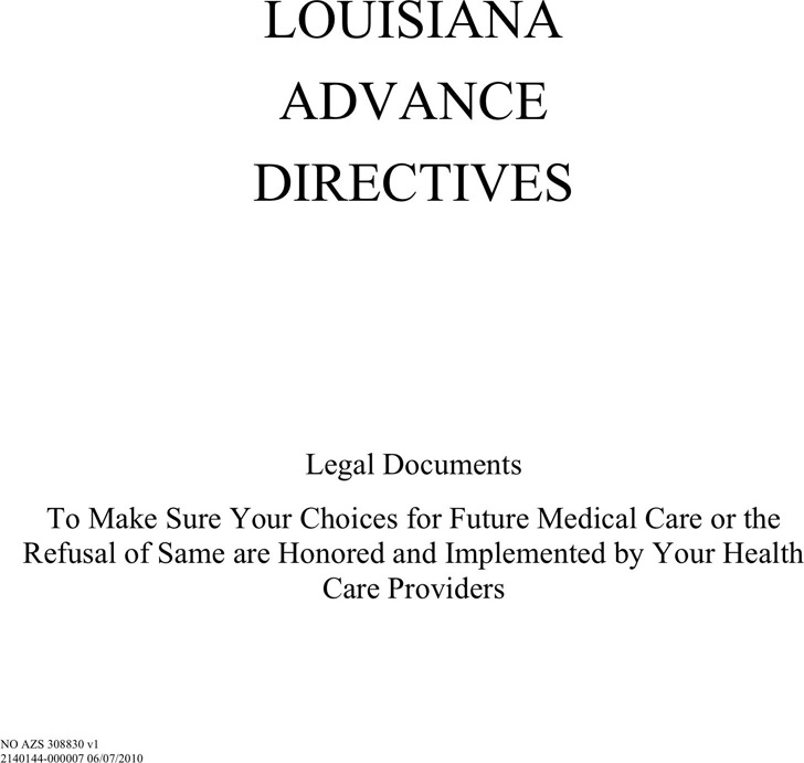 Louisiana Advance Directive Form
