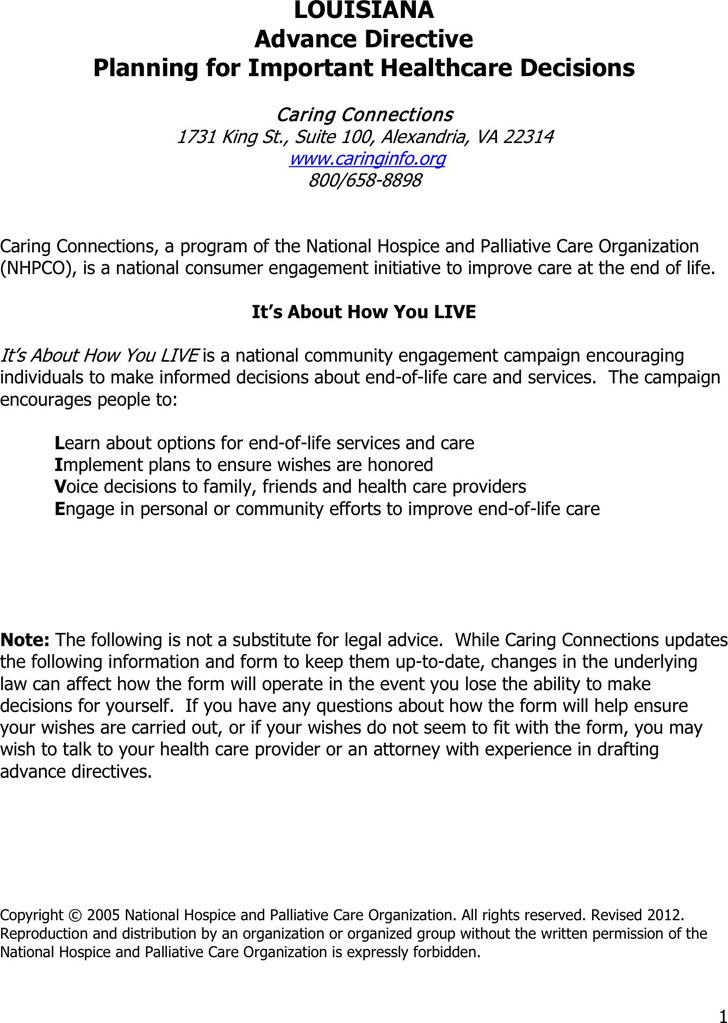 Louisiana Advance Health Care Directive Form