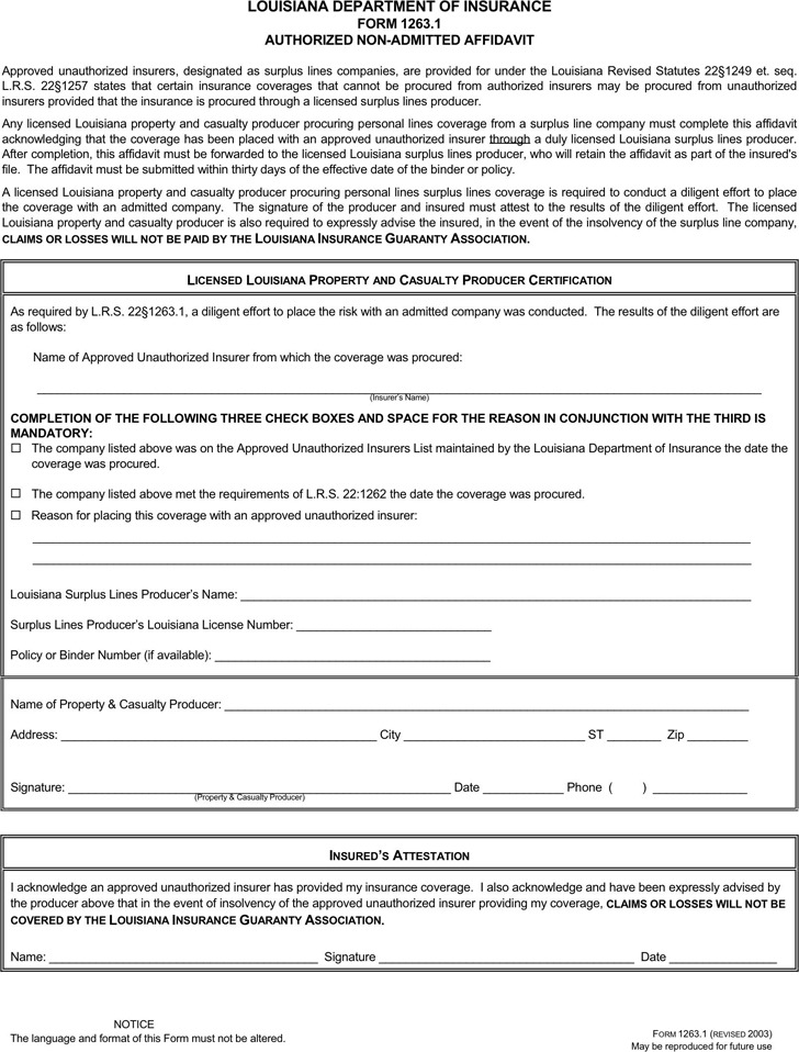 Louisiana Authorized Non-Admitted Affidavit Form