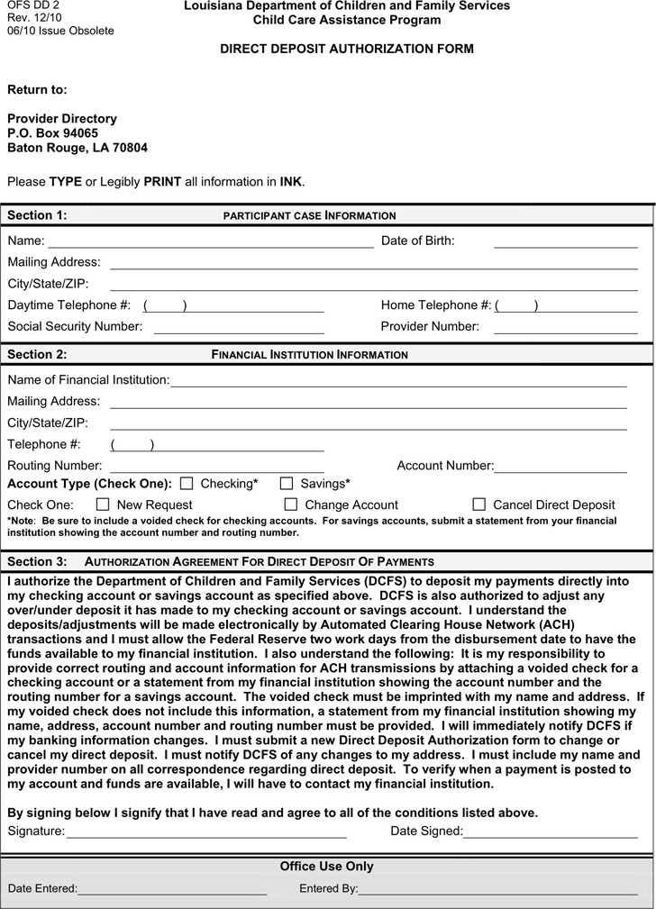 Louisiana Direct Deposit Form 2