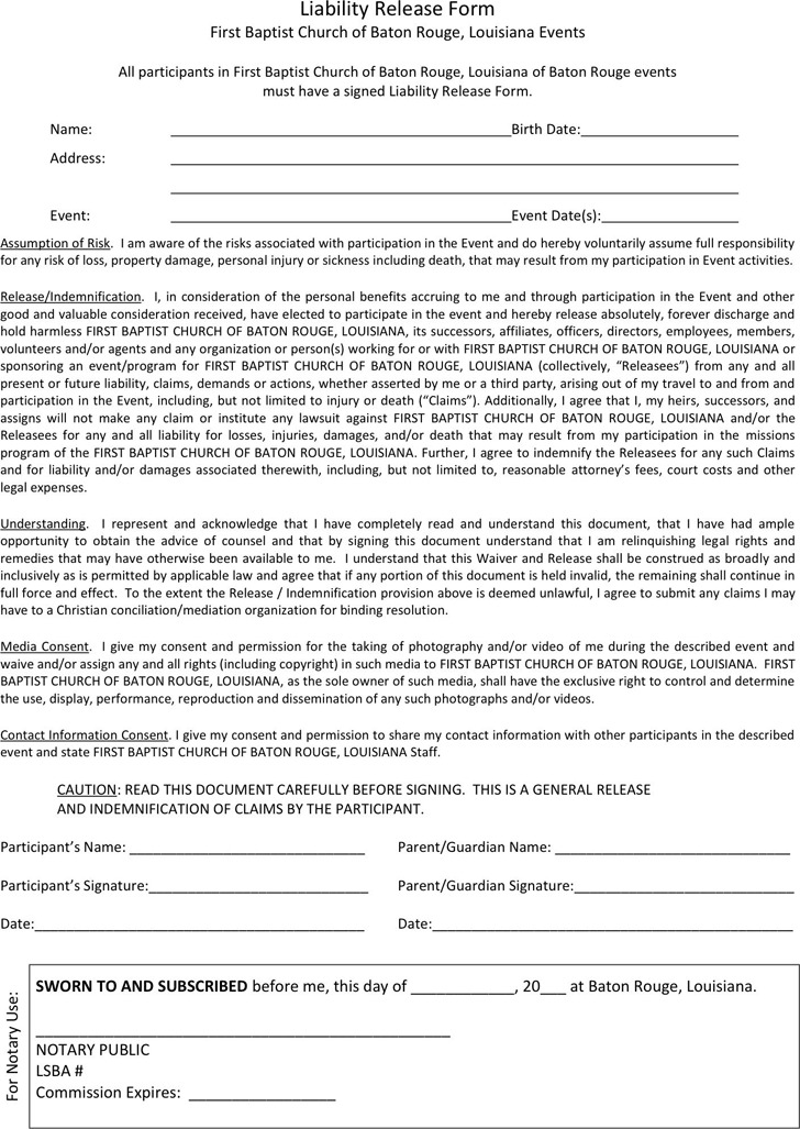 Louisiana Liability Release Form 2
