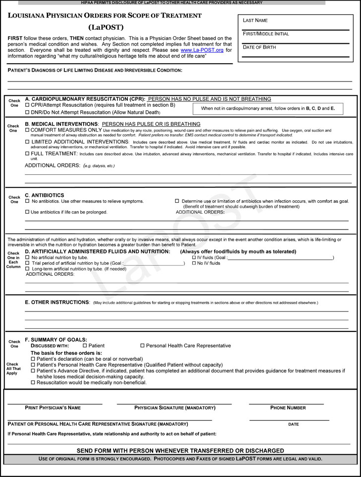 Louisiana Physician Orders For Scope of Treatment (POST) Form