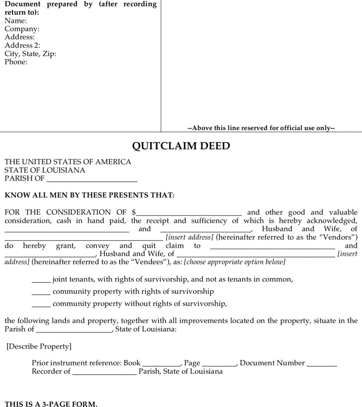 Louisiana Quitclaim Deed Form 1