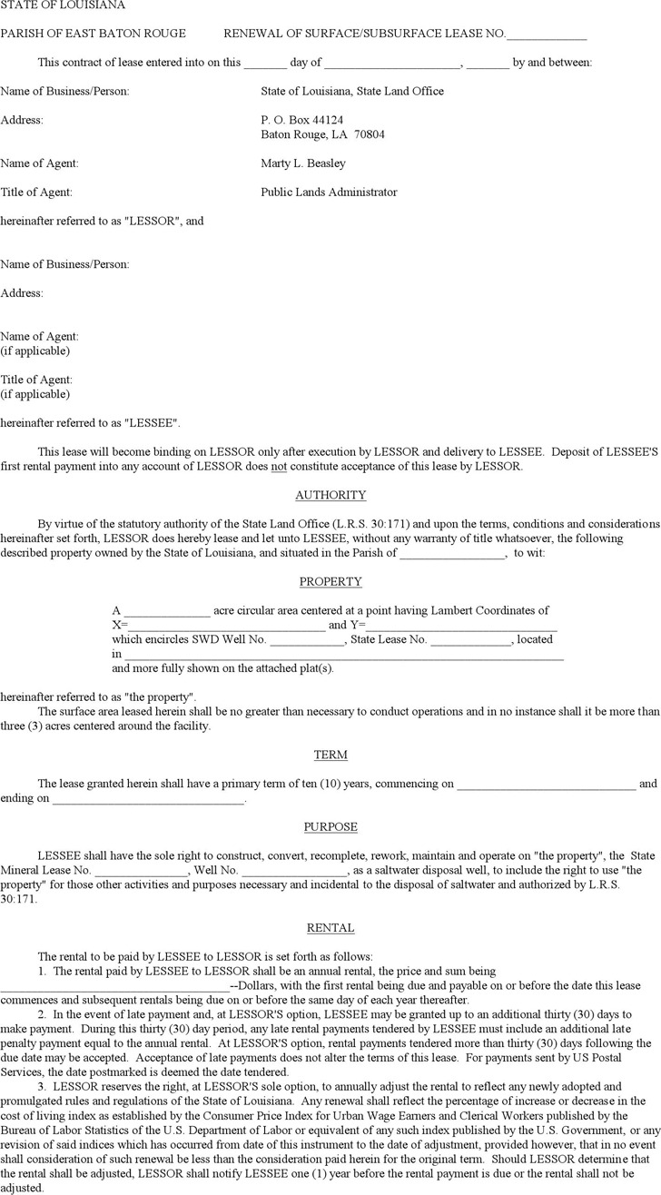 Louisiana Renewal of Surface/Subsurface Lease Form