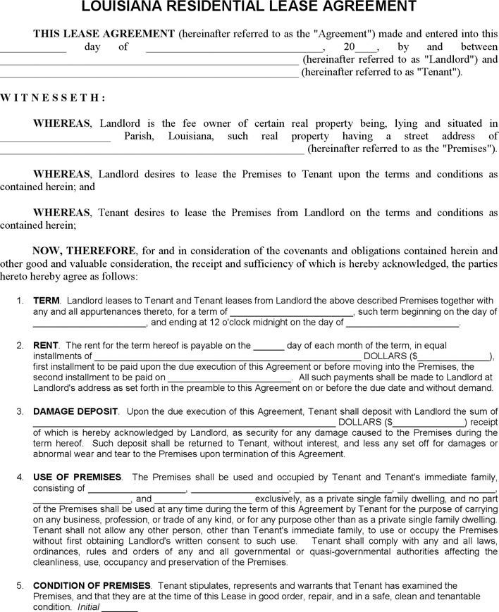 Louisiana Residential Lease Agreement Form