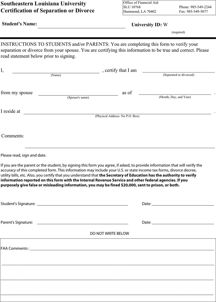 Louisiana Separation Agreement Template