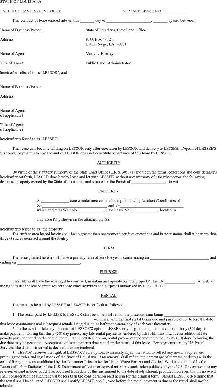 Louisiana Surface Lease Form