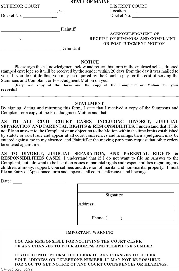 Maine Acknowledgment of Receipt of Summons and Complaint or Post-Judgment Motion Form