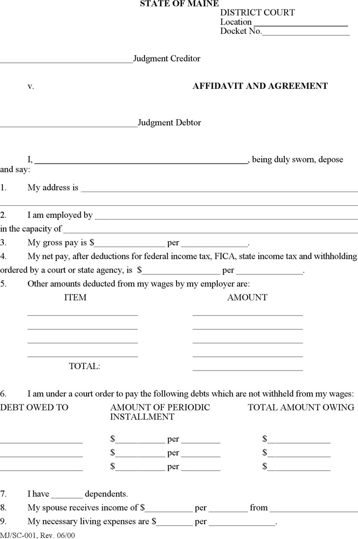 Maine Affidavit and Agreement Form