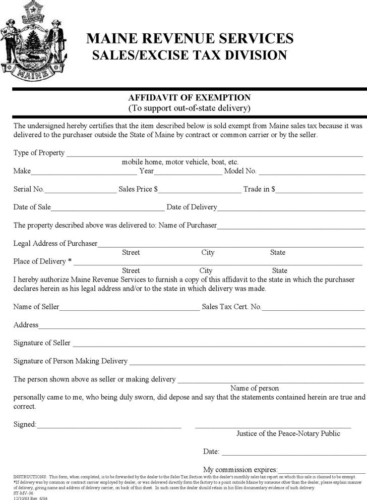 Maine Affidavit of Exemption Form