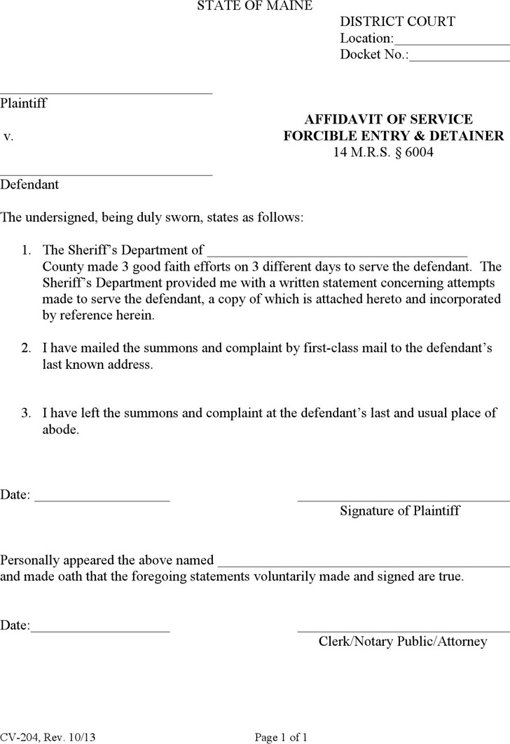 Maine Affidavit of Service, Forcible Entry & Detainer Form