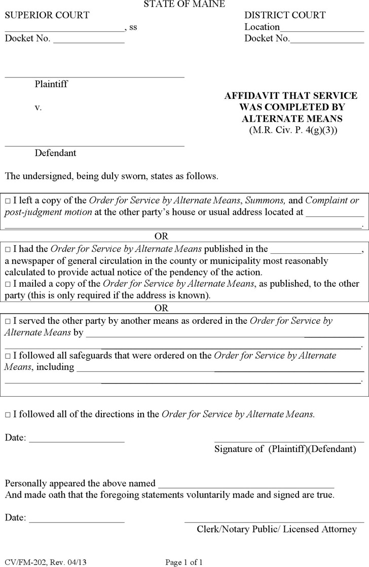 Maine Affidavit That Service Was Completed by Alternate Means Form