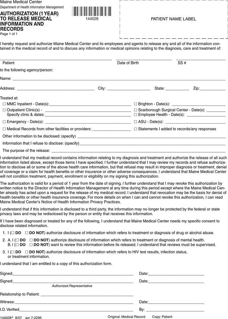 Maine Authorization to Release Medical Information and Records Form