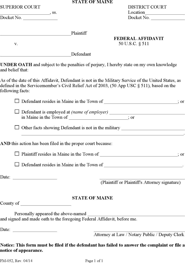 Maine Federal Affidavit Form