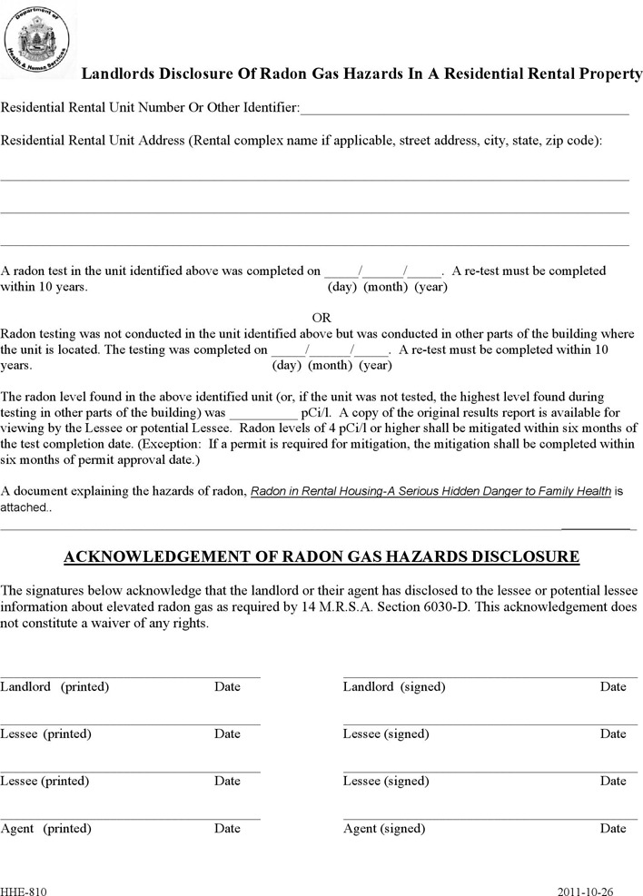 Maine Radon Rental Disclosure Form