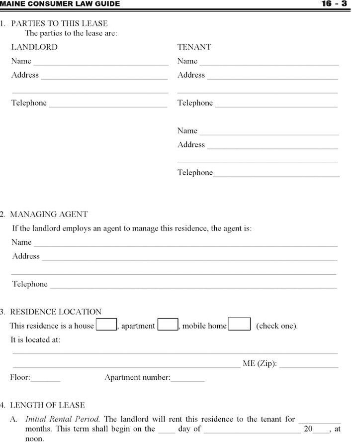 Maine Residential Lease Agreement Form