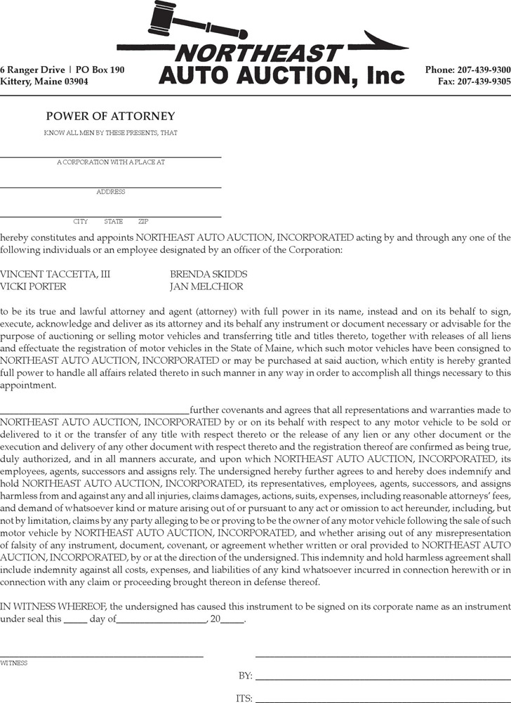 Maine Vehicles Power of Attorney Form 2