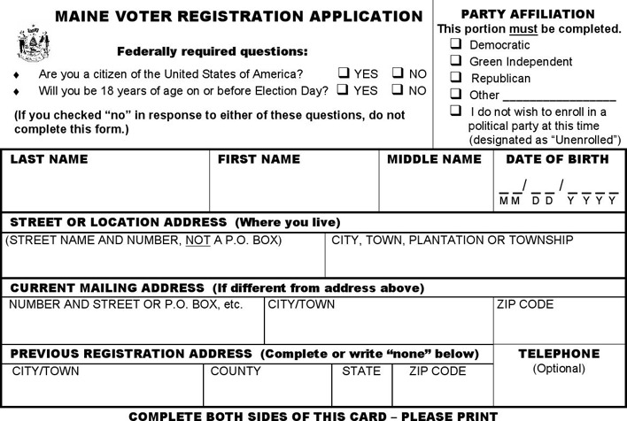 Maine Voter Registration Form