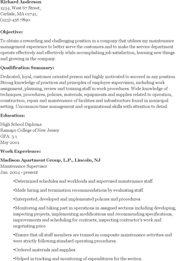 Maintenance Supervisor Resume