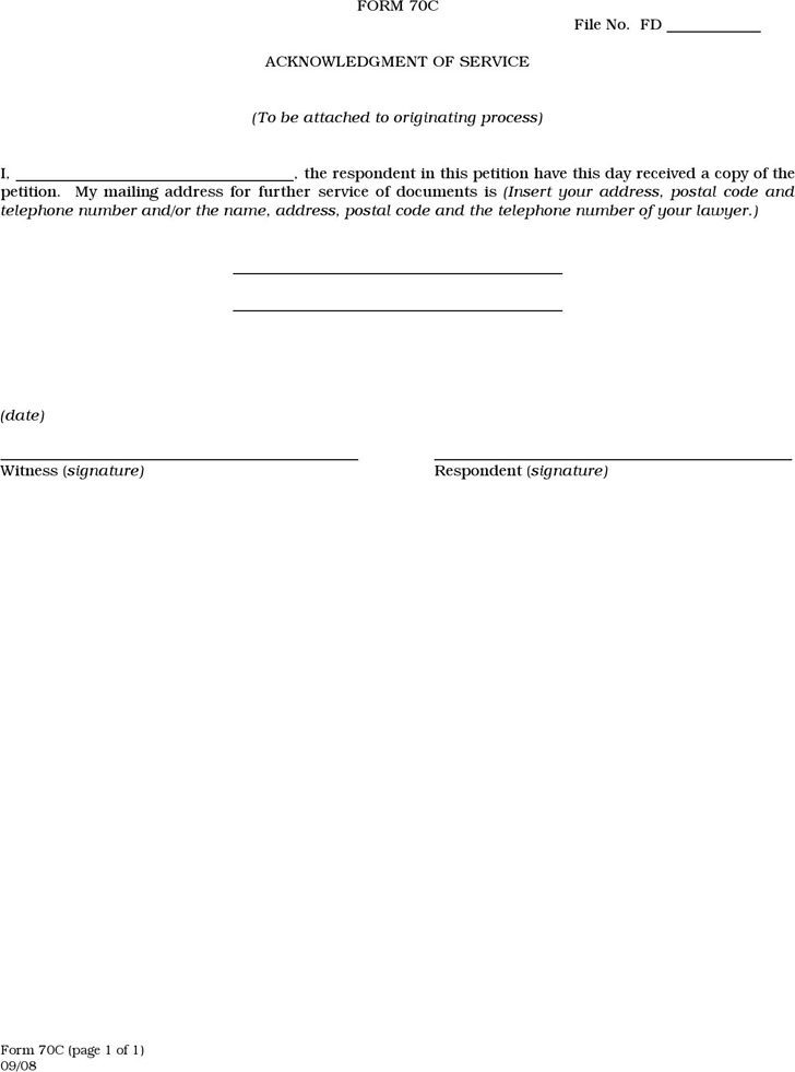 Manitoba Acknowledgment of Service Form