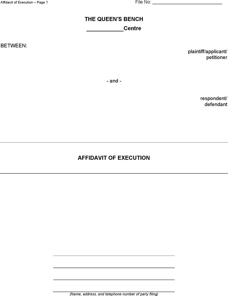Manitoba Affidavit of Execution Form