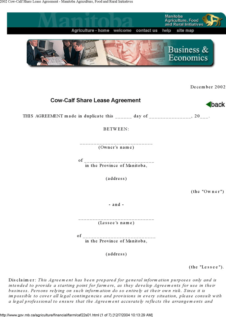 Manitoba Cow-Calf Share Lease Agreement Form
