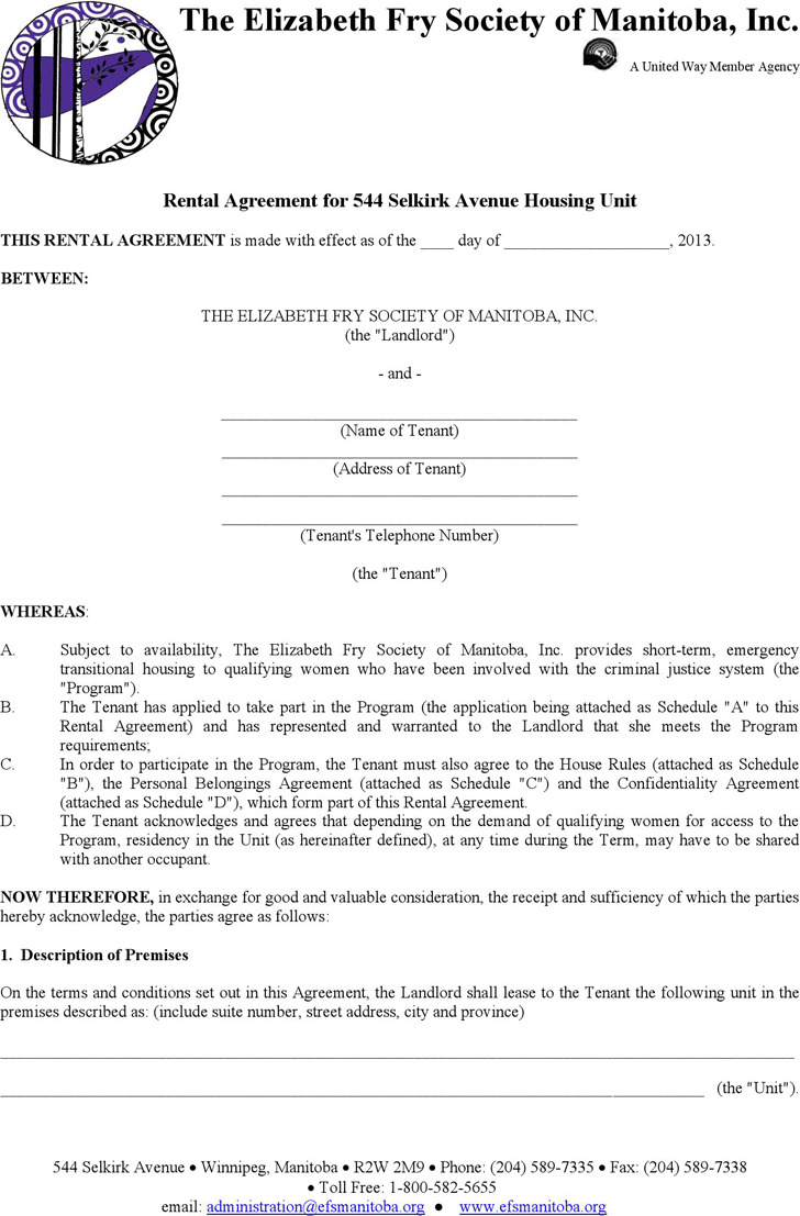 Manitoba Rental Agreement for 544 Selkirk Avenue Housing Unit Form