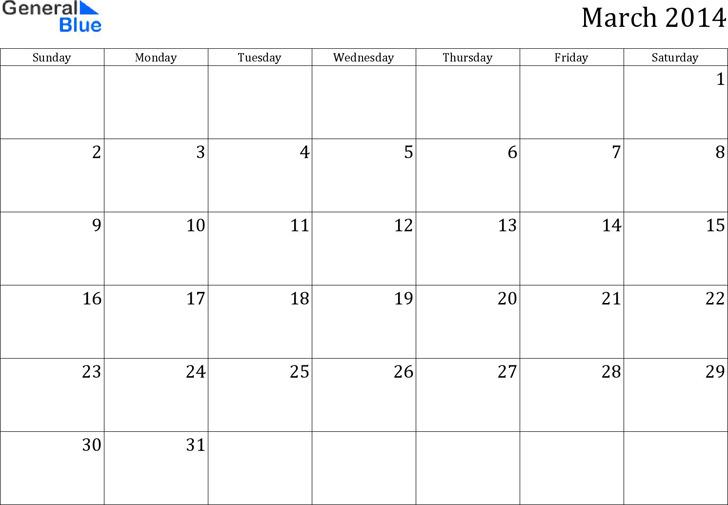 March 2014 Calendar 1