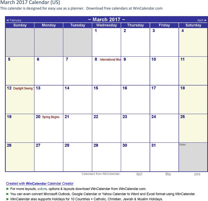 March 2017 Calendar 3