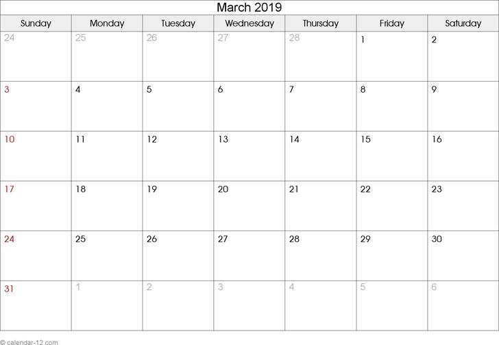 March 2019 Calendar 1