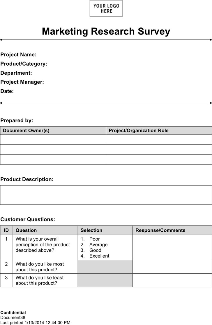 marketing research template download free premium