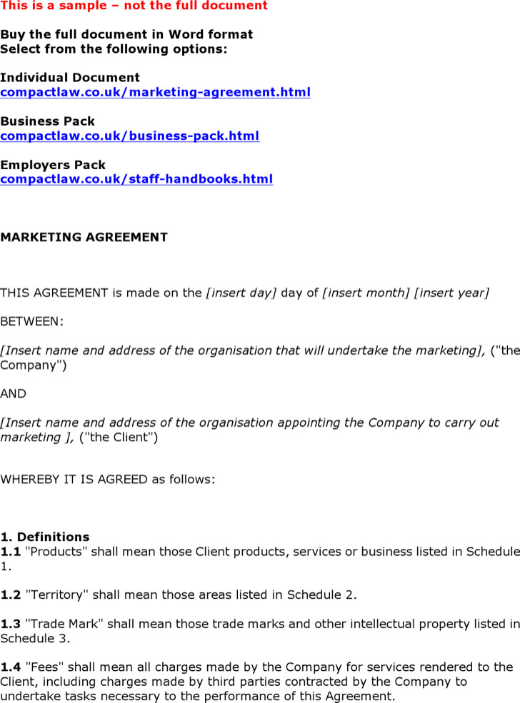 Marketing Agreement Template 1