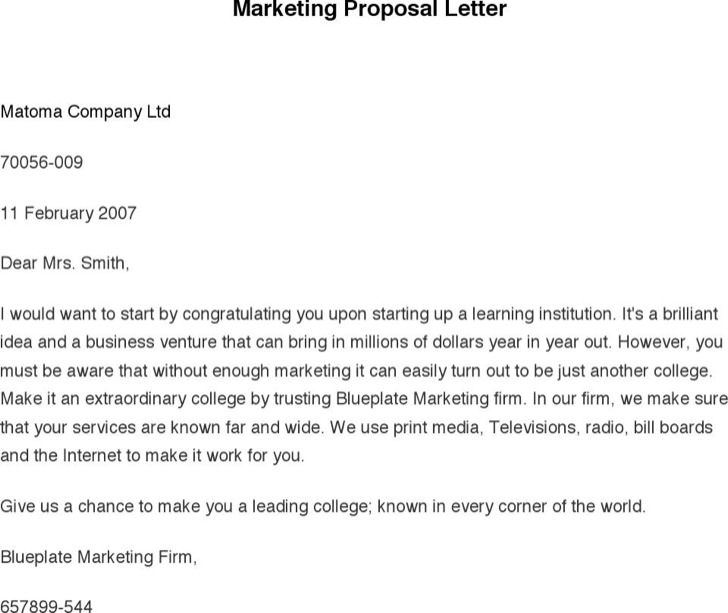 Marketing Letter Templates – Marketing Proposal Letter