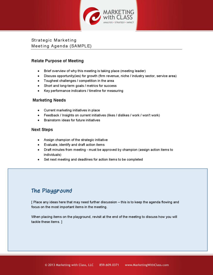 Strategy Meeting Agenda Template  Download Free  Premium