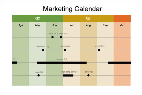 Marketing Timeline Calendar Template