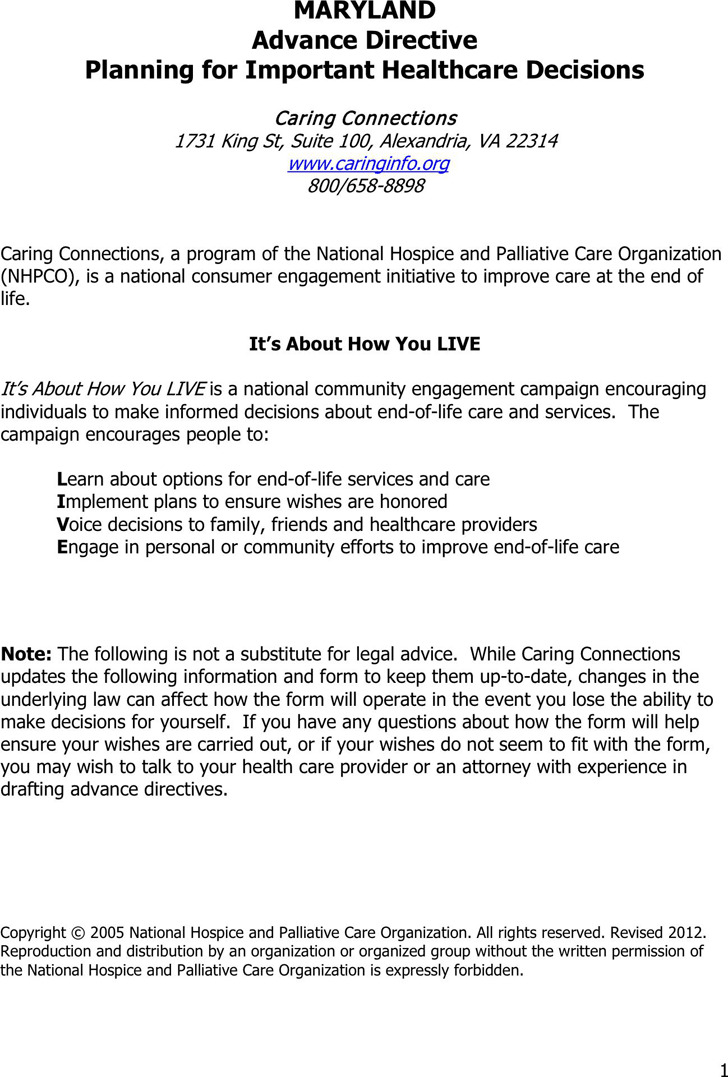 Maryland Advance Health Care Directive Form
