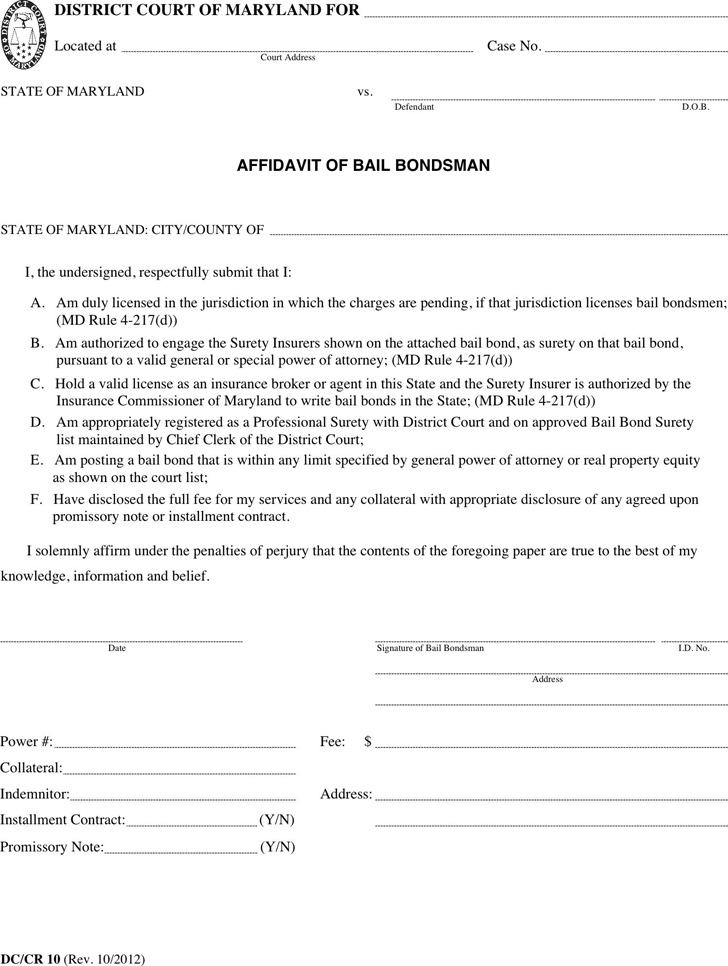 Maryland Affidavit of Bail Bondsman