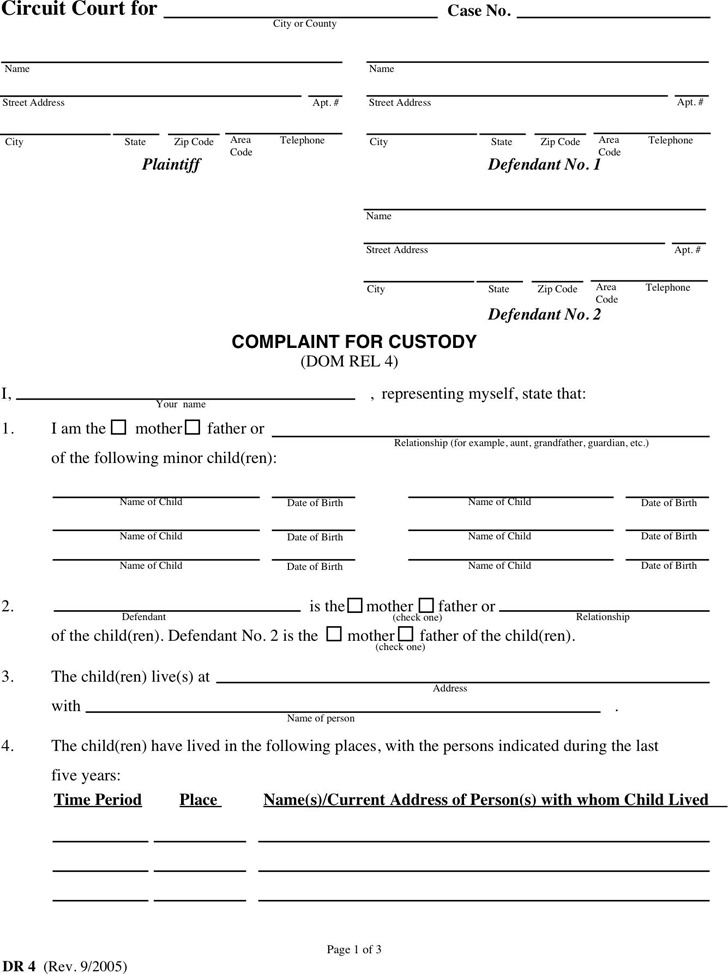 Maryland Child Custody Form
