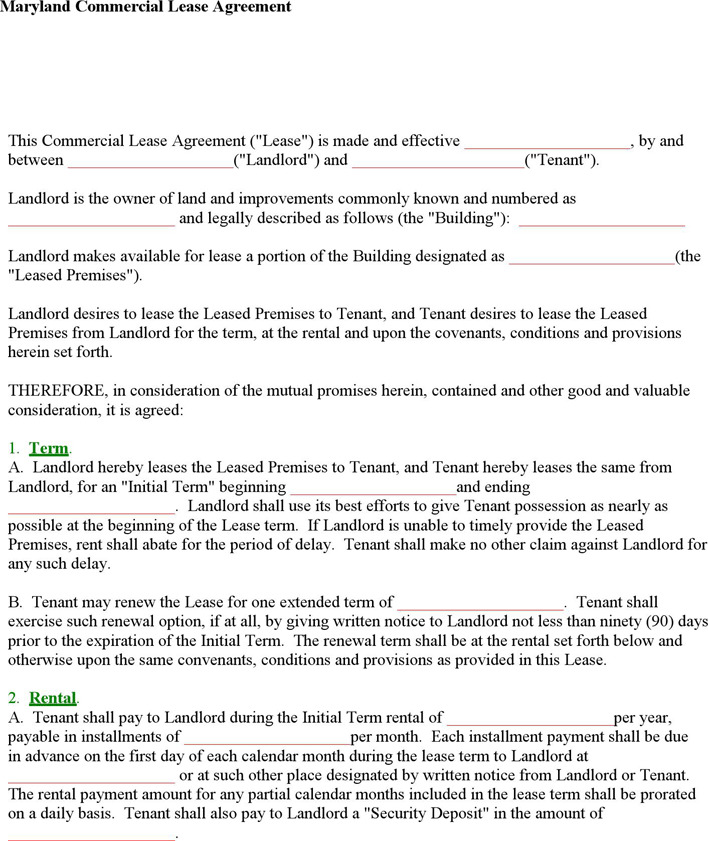 Maryland Commercial Lease Agreement