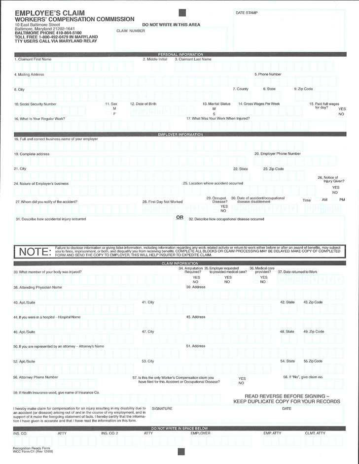 Maryland Employee's Claim Form