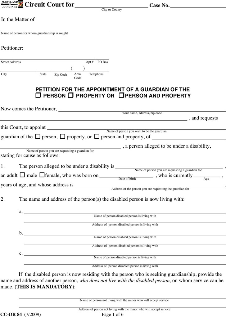 Maryland Guardianship Form 1