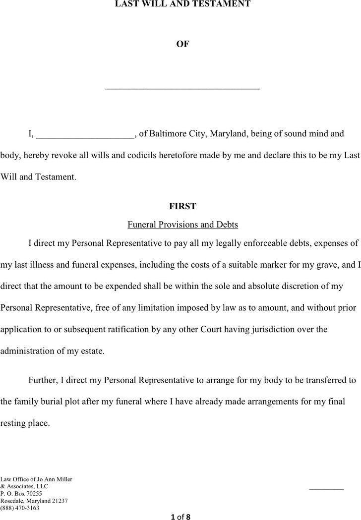 Maryland Last Will And Testament Form