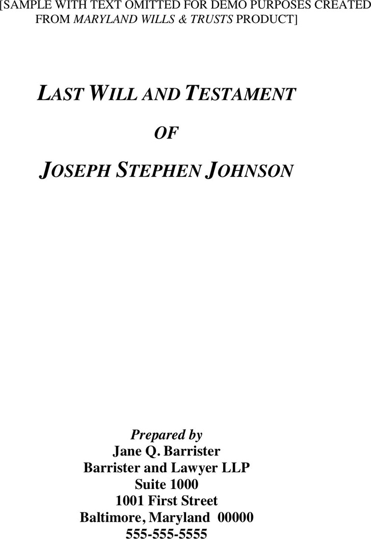 Maryland Last Will And Testament Sample