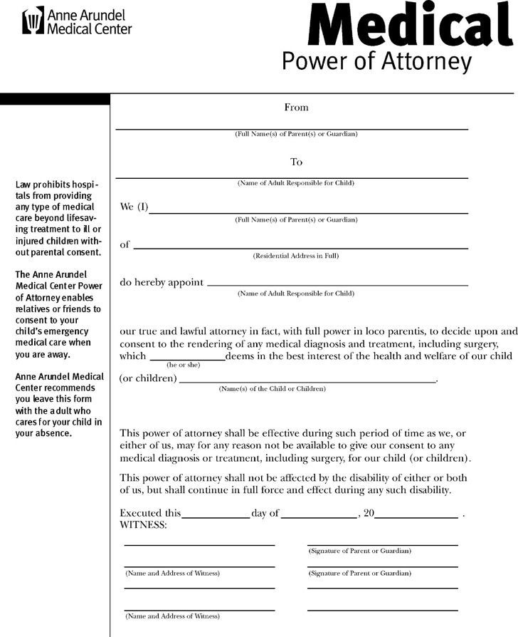 Maryland Medical Power of Attorney Form