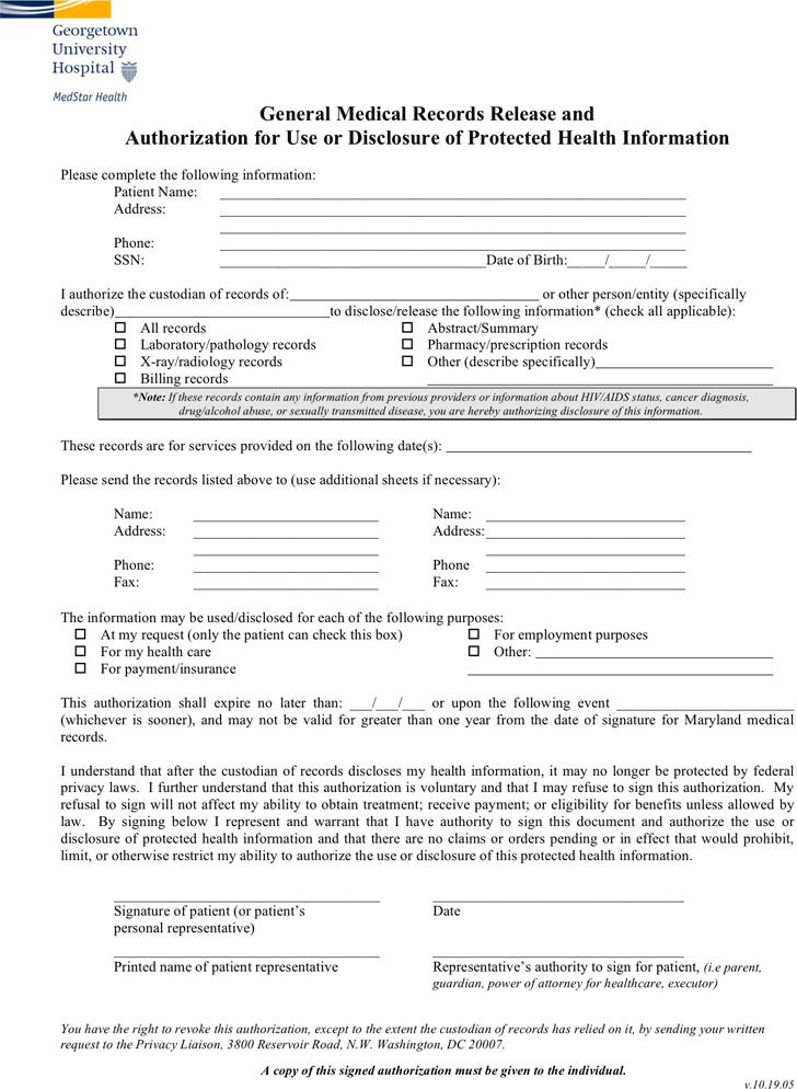 Blank Medical Records Release Form  CityEsporaCo