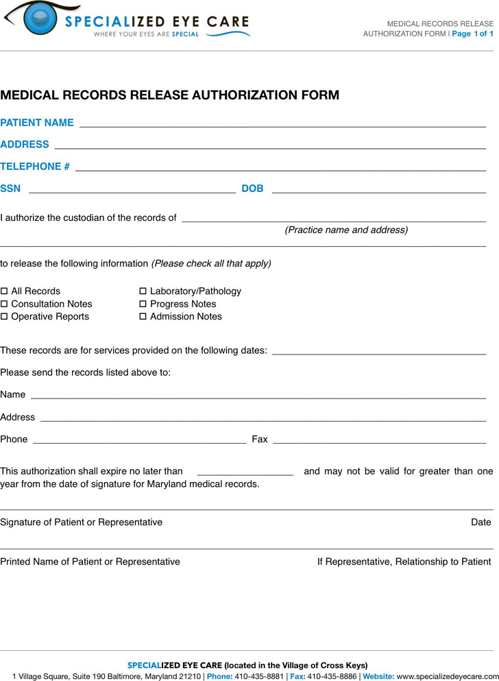 Maryland Medical Records Release Form 2