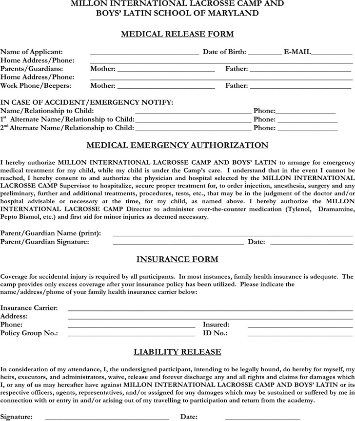 Maryland Medical Release Form