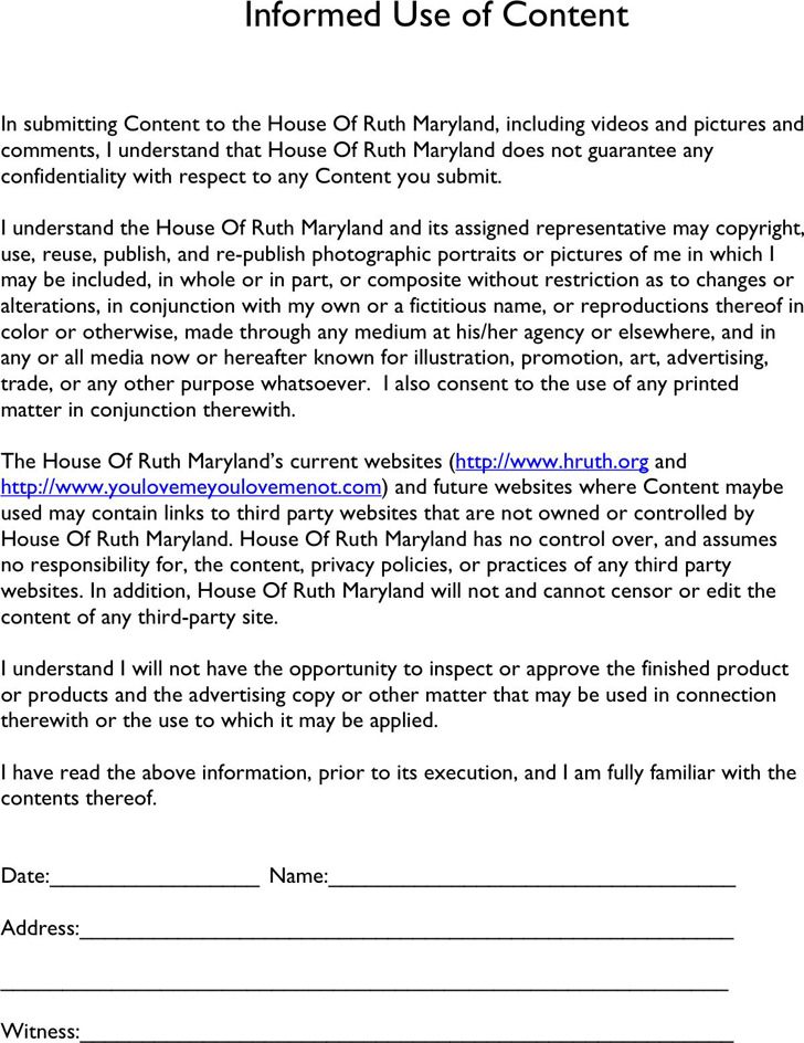 Maryland Model Release Form 2